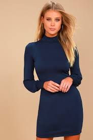 navy blue dress turtleneck dress long sleeve dress bodycon