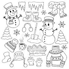 theme line winter winter theme drawings 1 stock vector illustration of gloves 80380349