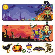 halloween cartoon banners part 2 u2014 stock vector dianka 3909066