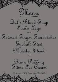 Free Halloween Printable Decorations Silly Halloween Menu Printable With Nasty Sounding Dishes Free To