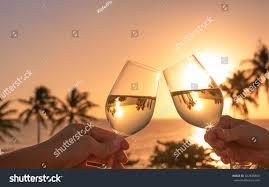 Beautiful Wine Glasses Cheers Wine Glasses Beautiful Sunset Beach Stock Photo 662938864