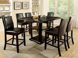 6 Black Dining Chairs Black Marble Kitchen Table Complete With 6 Black Leather Dining