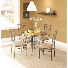 Furniture Kitchen Sets Mainstays 5 Piece Glass And Metal Dining Set 42