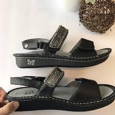 alegria womens verona black beaded adjustable strap sandals size
