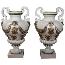antique italian hand painted glazed terracotta urns for sale at