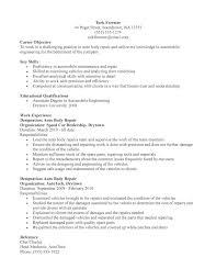Auto Mechanic Resume Samples by Auto Body Tech Resume Sample Corpedo Com