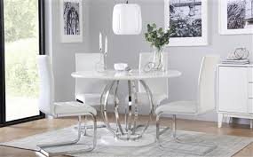 white high gloss table savoy round white high gloss and chrome dining table with 4 celeste