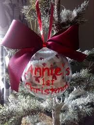 Baby S First Christmas Photo Bauble by Personalised Baby U0027s 1st Christmas Bauble With Handmade Christmas