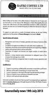 finance manager tayoa employment portal