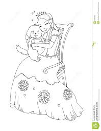 princess with dog coloring page royalty free stock photo image