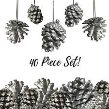 silver pine cone ornaments set of 40 small silver