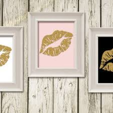 pink and black home decor kiss lips black white gold pink digital from whimofgold on etsy