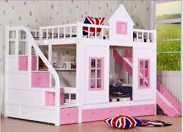 kinder schlafzimmer kinder etagenbett holz 2 boden leiter arche mit rutsche bett rosa