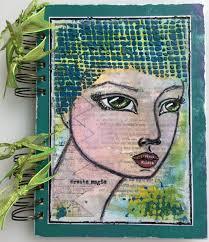 Spiral Bound Photo Album Create Magic Panpastel Girls Face Mixed Media Memory Scrapbook