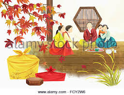 illustration representing korean thanksgiving day stock photo