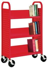 furniture small red modern portable bookshelf on wheels portable