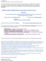 Certification Approval Letter Education Hospital Sterile Service Society Of India