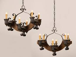 Wooden Chandeliers Antique And Vintage Pair Wood Chandeliers With Black Cast Iron
