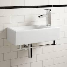 large small wall mounted bathroom sink for brick pattern tile