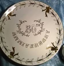 anniversary plate vtg 1960 s lefton china 50th anniversary plate 10 1 4
