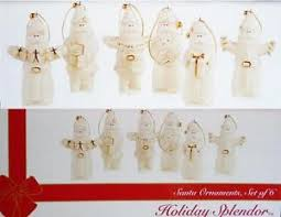6 pc mikasa santa claus porcelain ornaments 24k gold