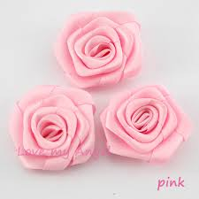 satin roses free shipping pink satin ribbon flower handmade rolled rosettes