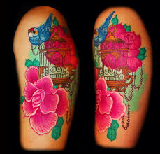 bird cage and flower tattoo by dzsedi on deviantart