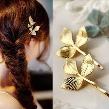 fresh european style gold leaf hair barrettes vintage hair