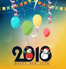 new year backdrop 2018 new year backdrop snowmen balloon ribbon decoration vectors