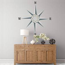wood compass wall large neutral nautical compass wall decal eco friendly removable