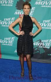 knee length jessica alba little black halter dress knee