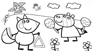 drawing peppa pig colouring pages kids