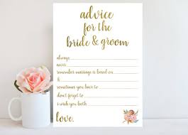 advice to the and groom cards wedding advice card bridal shower printable instant