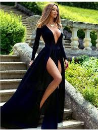 navy blue dress buy navy blue v neck sleeves split front sweep