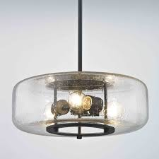 Seeded Glass Pendant Light Industrial Seeded Glass Pendant Light With 3 Lights Bronze Finish