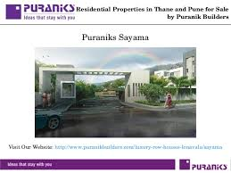 Row House In Lonavala For Sale - residential flats in thane and pune for sale by puranik builders