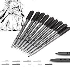 different types pigment liner art marker pen black water based
