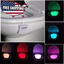 Motion Sensor Bathroom Light Gold Armour Toilet Night Light 8 Color Led Motion Activated
