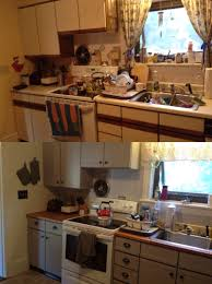 Melamine Kitchen Cabinets Kitchen Before After Diy Neutral With White Remodel Within Paint