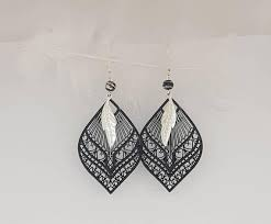 feather earrings nz black and silver feather earrings