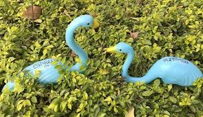1pair plastic blue flamingo garden yard and lawn ornament