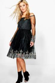 plus emma off the shoulder skater dress boohoo