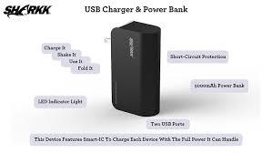 amazon com sharkk 5000mah dual usb battery power bank with built