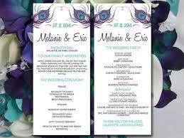 tea length wedding program peacock wedding program template teal eggplant purple