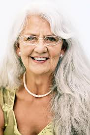 hairstyles old women bangs and long wavy silver and fabulous