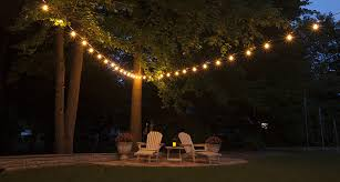 String Lighting For Patio Hanging Patio String Lights A Pattern Of Perfection Yard Envy