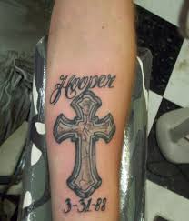 cross designs on forearm tattoos