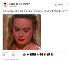 brie larson casey affleck brie larson did not applaud casey affleck as he won his oscar was