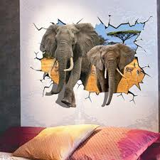 Home Decor Elephants Online Buy Wholesale Wall Art Removable Decal Elephant 3d Wall