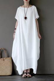 white casual linen plus size summer maxi dresses 1640 fantasylinen
